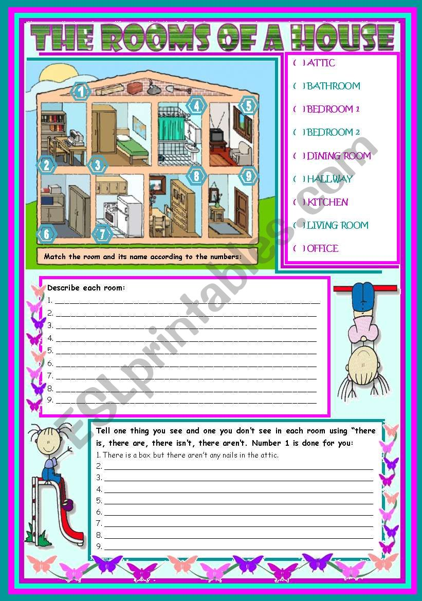 The rooms of a house – vocabulary (rooms, furniture and appliances) and grammar (there is, there are) [3 tasks] ***editable